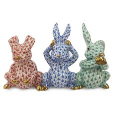 Herend Porcelain Figurine of a Three Wise Bunnies